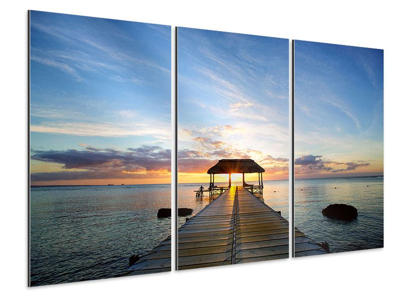 Aluminiumbild 3-teilig Romantik auf Mauritius