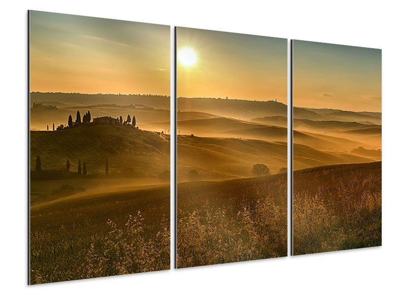 Aluminiumbild 3-teilig Sonnenuntergang im Gebirge