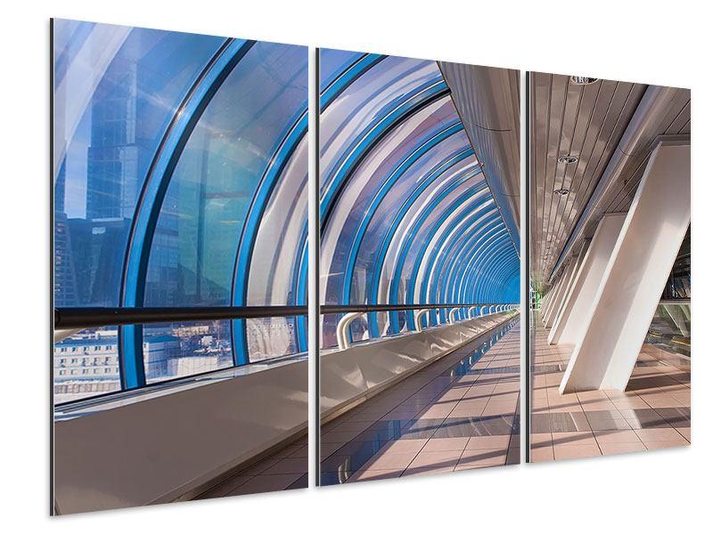 Aluminiumbild 3-teilig Hypermoderne Brücke
