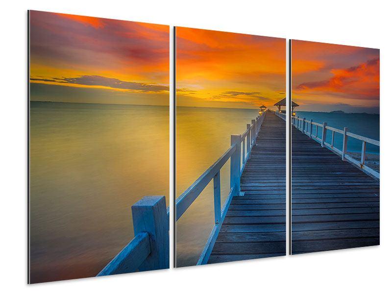 Aluminiumbild 3-teilig Eine Holzbrücke im fernen Osten