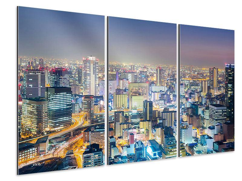 Aluminiumbild 3-teilig Skyline Osaka bei Sonnenuntergang