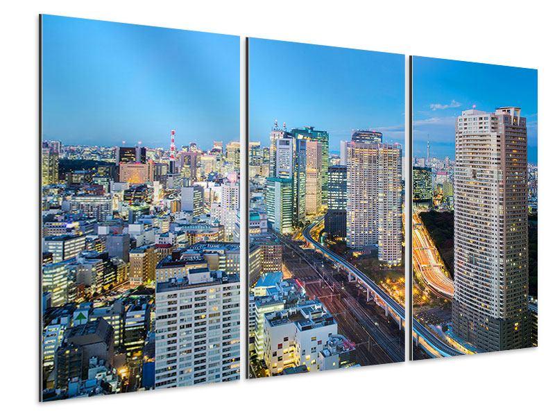 Aluminiumbild 3-teilig Skyline Tokio im Lichtermeer