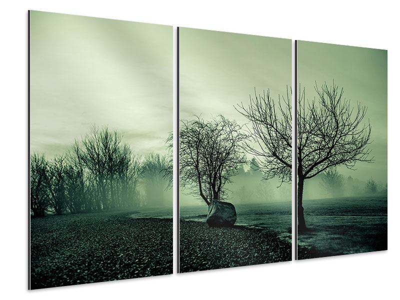 Aluminiumbild 3-teilig Der Auwald im Nebel