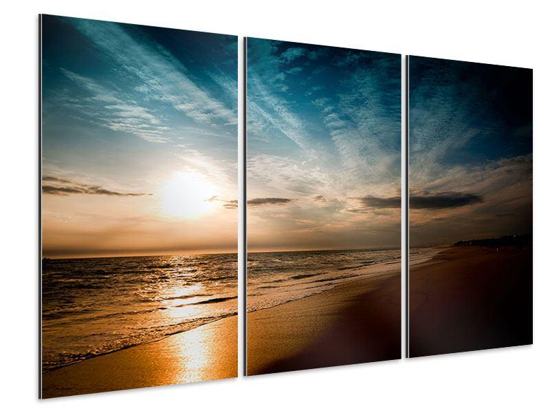 Aluminiumbild 3-teilig Strandspaziergang