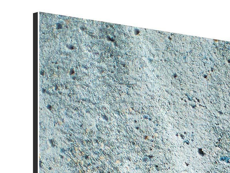 Aluminiumbild 3-teilig Beton in Grau