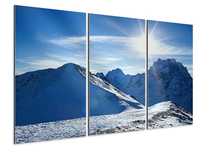 Aluminiumbild 3-teilig Der Berg im Schnee