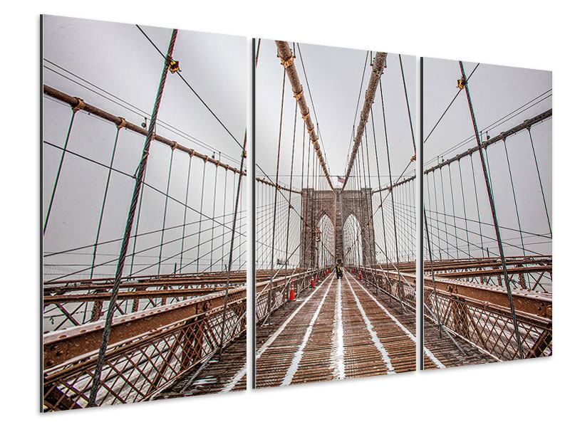 Aluminiumbild 3-teilig Auf der Brooklyn Bridge