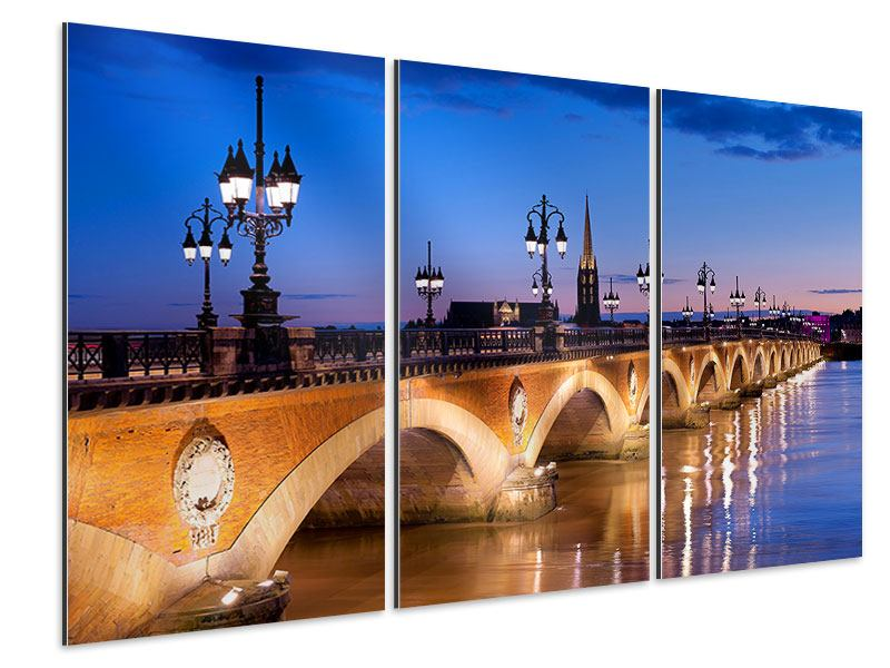 Aluminiumbild 3-teilig Pont De Pierre bei Sonnenuntergang