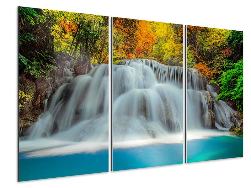 Aluminiumbild 3-teilig Fallendes Gewässer