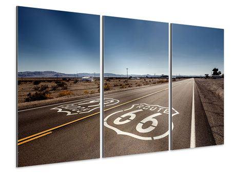 Aluminiumbild 3-teilig Route 66