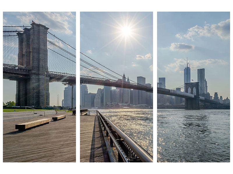 Aluminiumbild 3-teilig Brooklyn Bridge