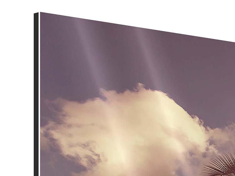 Aluminiumbild 3-teilig Die schiefe Palme