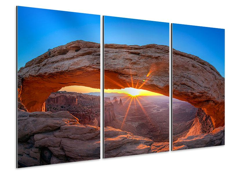 Aluminiumbild 3-teilig Sonnenuntergang am Mesa Arch