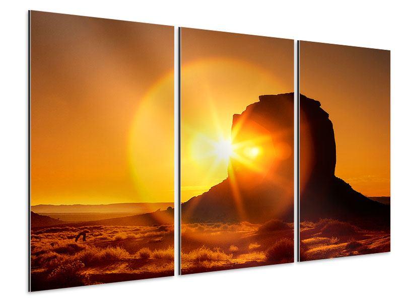 Aluminiumbild 3-teilig Sonnenuntergang Monument Valley