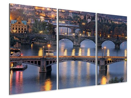 Aluminiumbild 3-teilig Brücken in Prag
