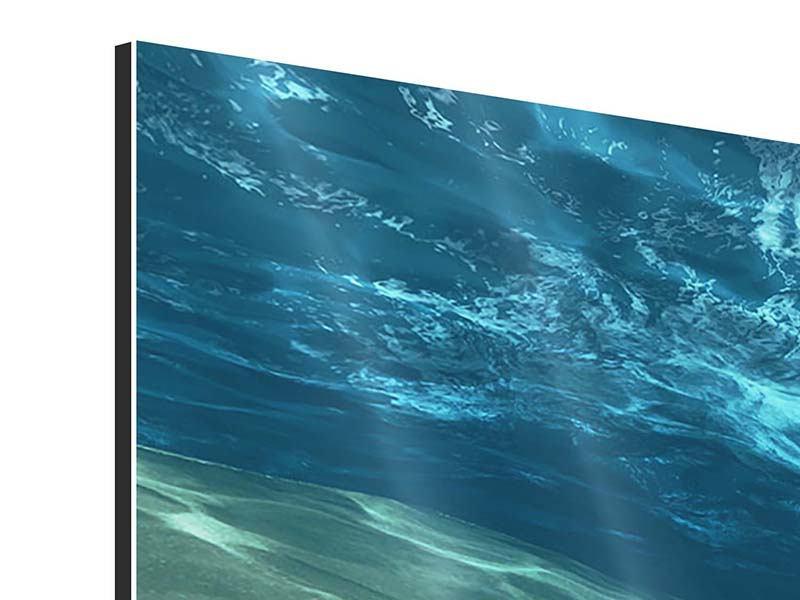 Aluminiumbild 3-teilig Unter dem Wasser