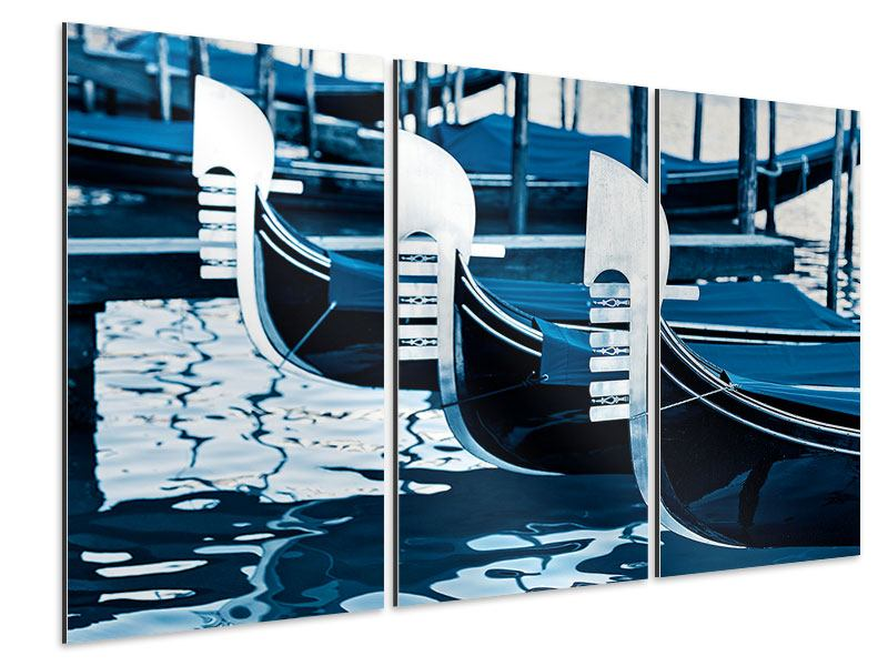 Aluminiumbild 3-teilig Gondeln in Venedig