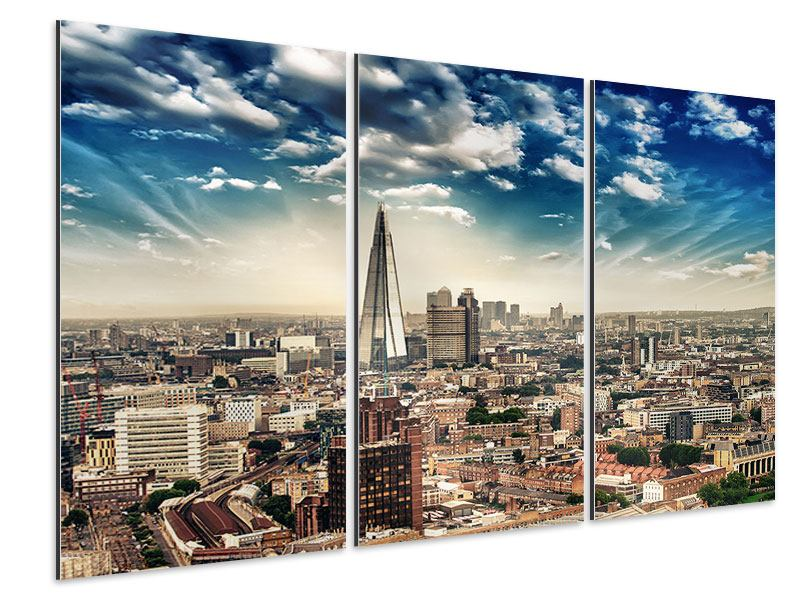 Aluminiumbild 3-teilig Skyline Über den Dächern von London