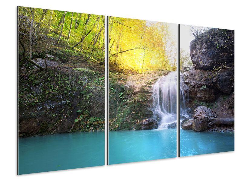 Aluminiumbild 3-teilig Fliessender Wasserfall