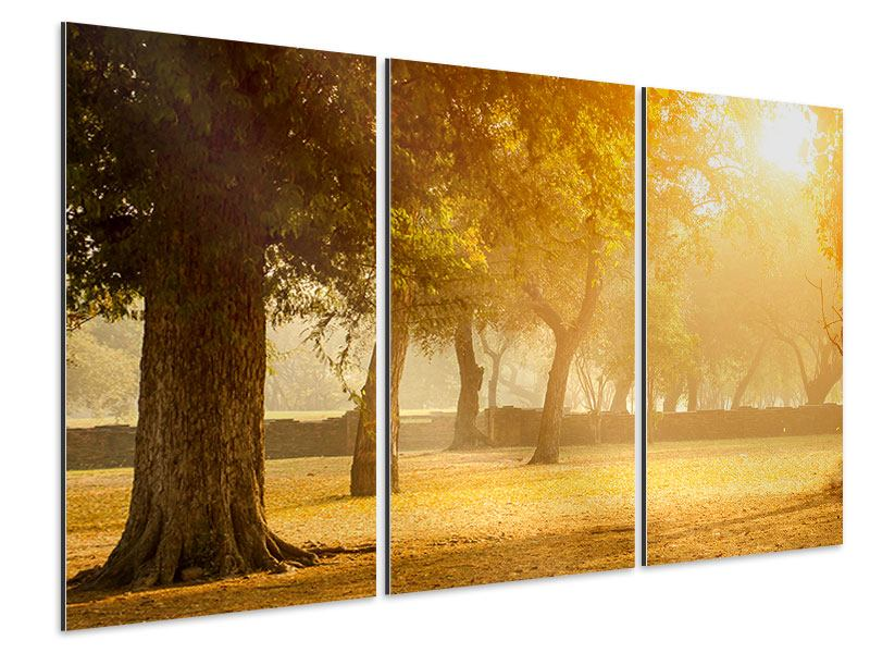 Aluminiumbild 3-teilig Romantik unter Bäumen