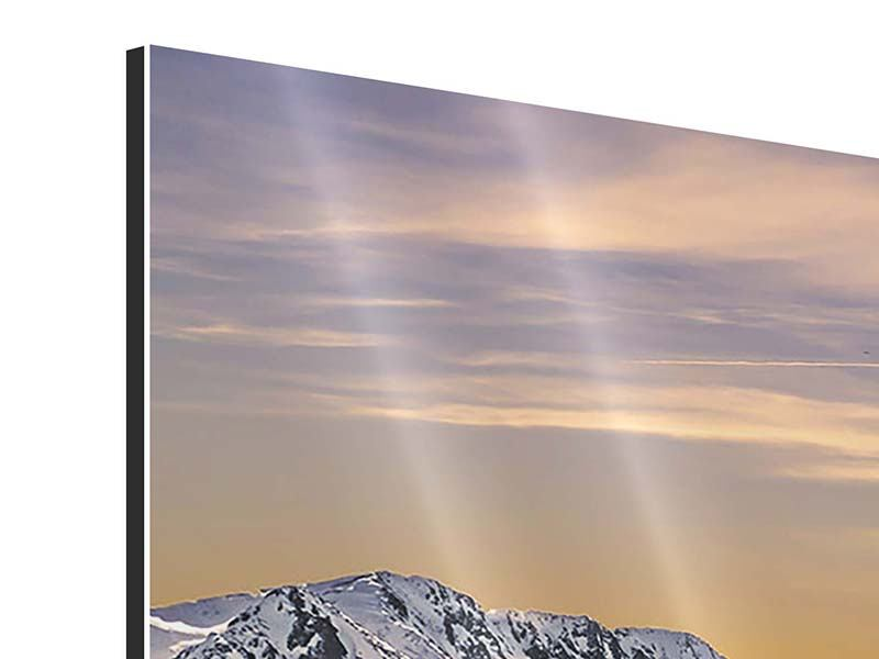 Aluminiumbild 3-teilig Sonnenuntergang in den Bergen