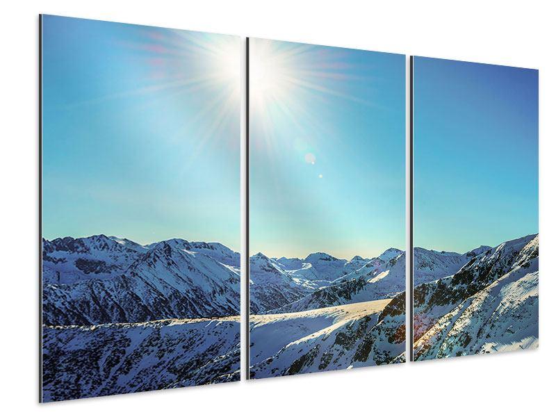 Aluminiumbild 3-teilig Sonnige Berggipfel im Schnee