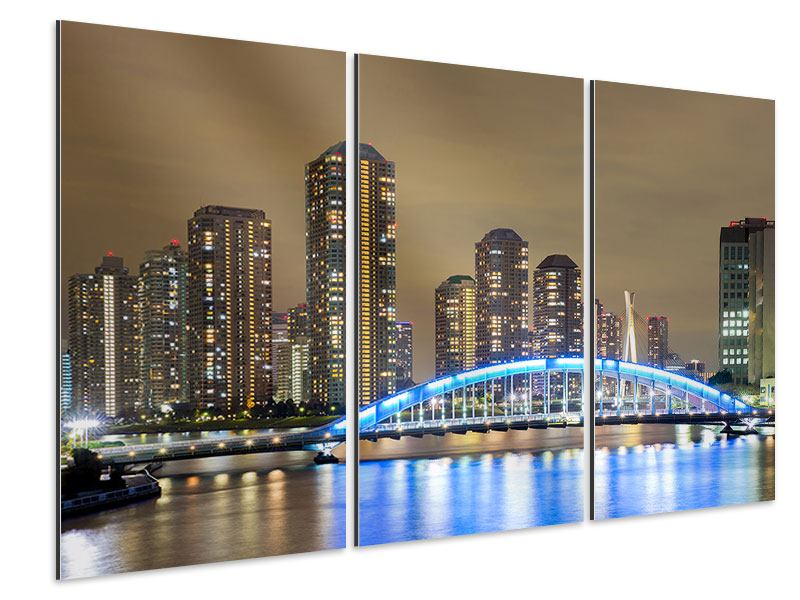 Aluminiumbild 3-teilig Skyline Tokio in der Nacht