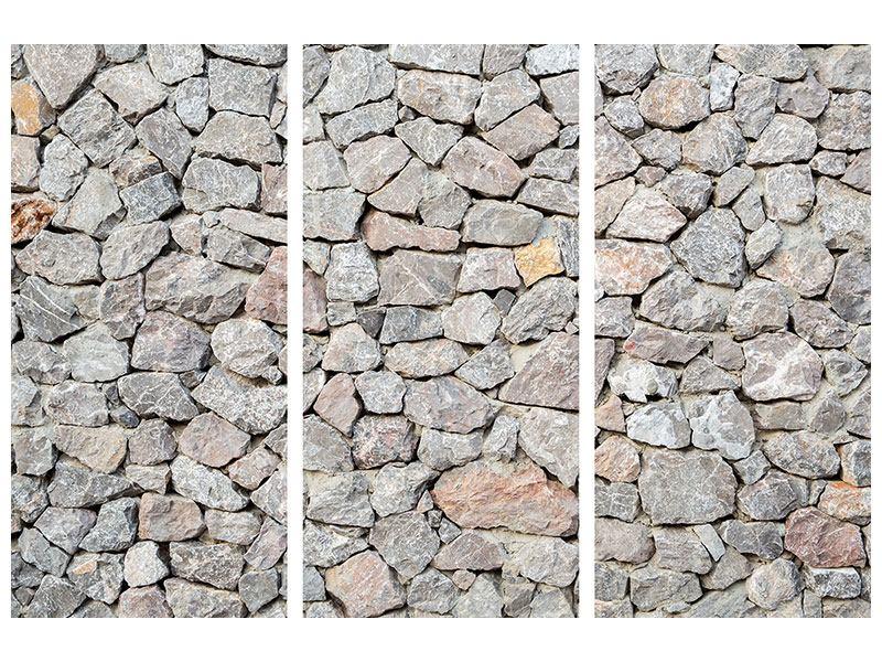 Aluminiumbild 3-teilig Grunge-Stil Mauer