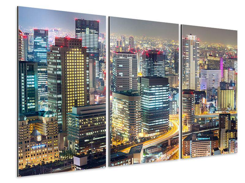 Aluminiumbild 3-teilig Skyline Osaka im Lichtermeer