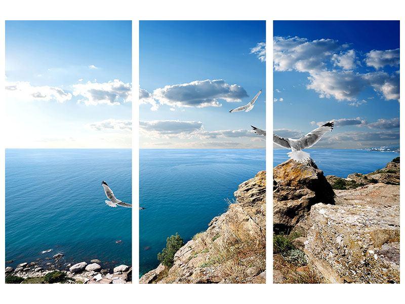 Aluminiumbild 3-teilig Die Möwen und das Meer