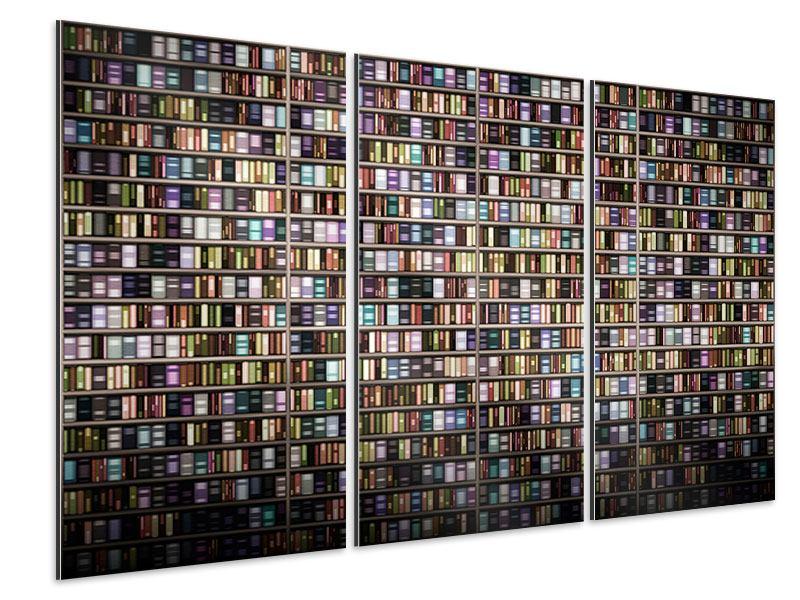 Aluminiumbild 3-teilig Bücherregal