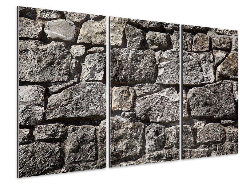 Aluminiumbild 3-teilig Grosses Mauerwerk