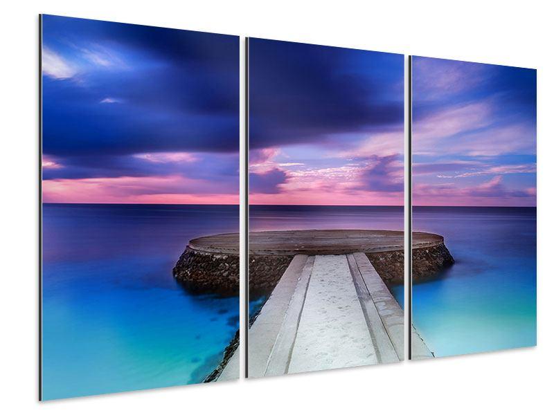 Aluminiumbild 3-teilig Meditation am Meer