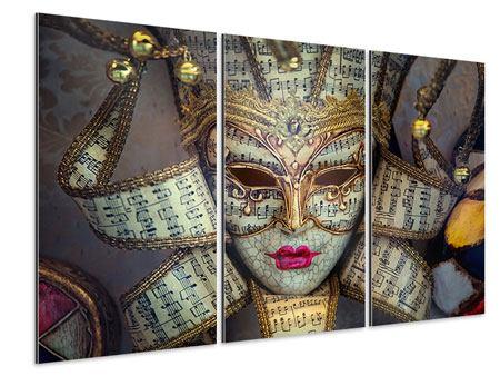 Aluminiumbild 3-teilig Venezianische Maske