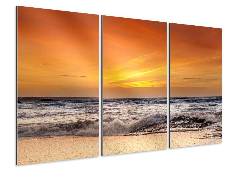 Aluminiumbild 3-teilig See mit Sonnenuntergang