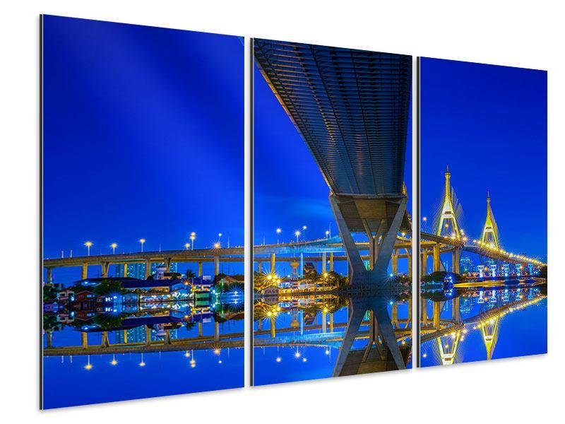 Aluminiumbild 3-teilig Bhumiboll-Brücke