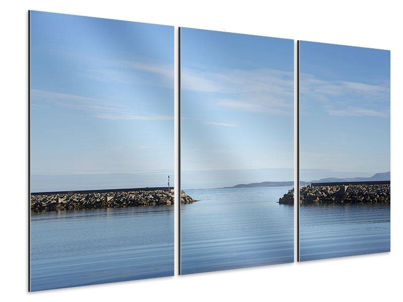 Aluminiumbild 3-teilig Hafenmauern