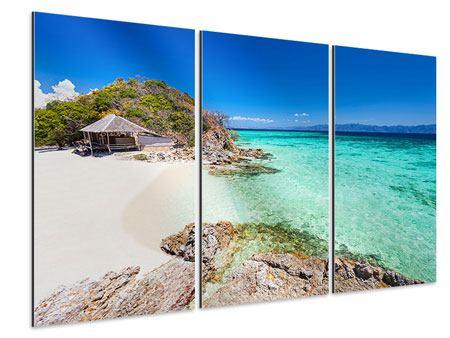 Aluminiumbild 3-teilig Das Haus am Strand