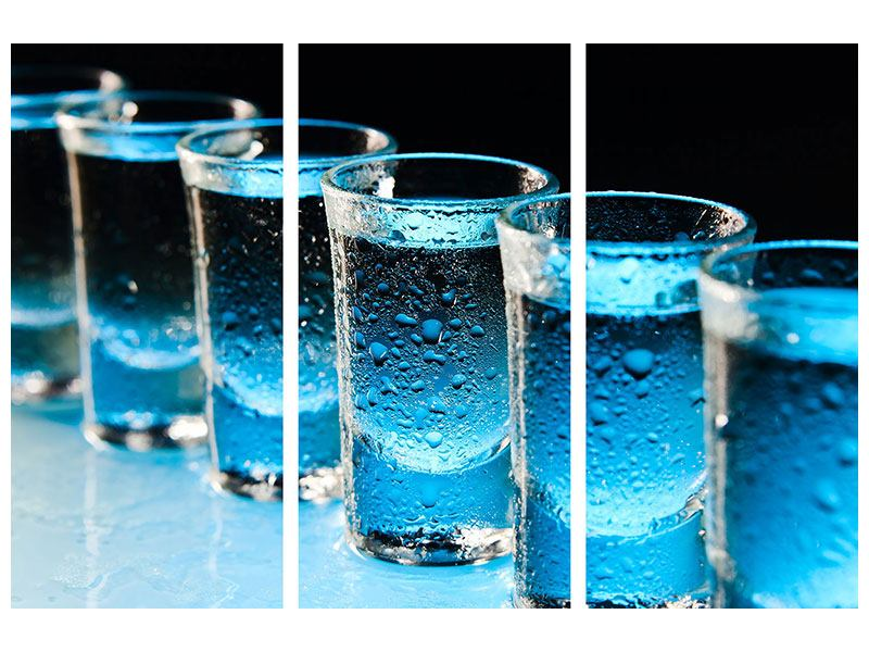Aluminiumbild 3-teilig Wodka Pur
