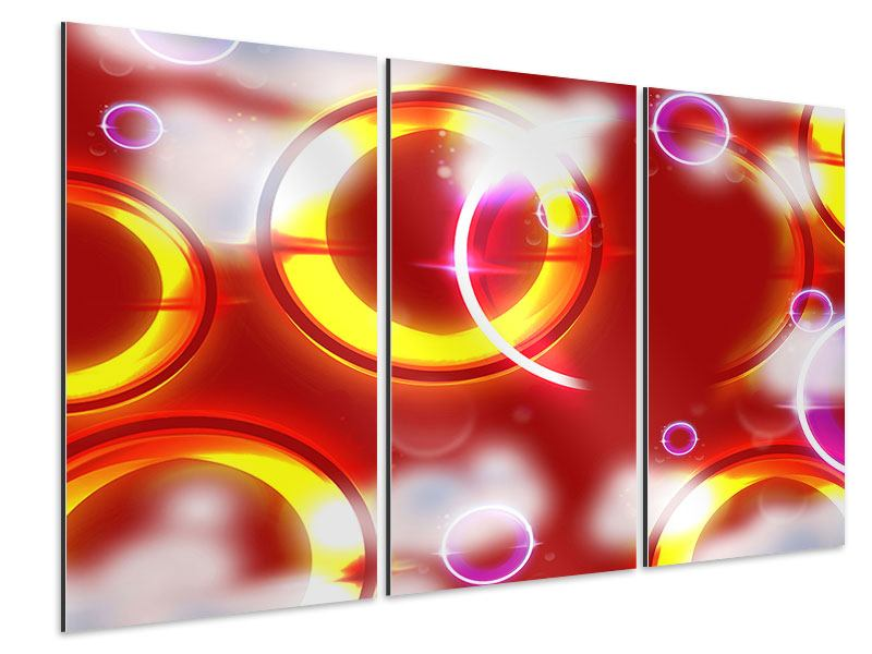 Aluminiumbild 3-teilig Abstraktes Retro