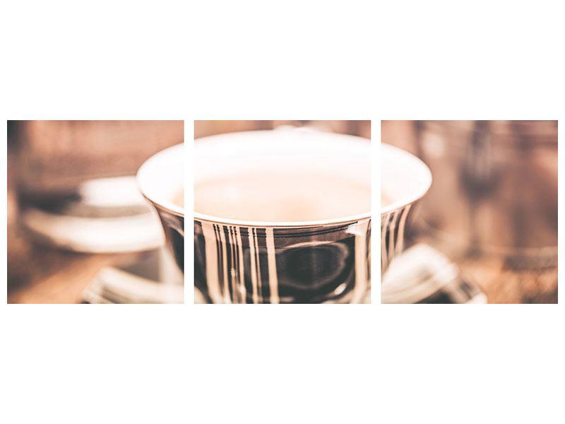 Panorama Aluminiumbild 3-teilig Der Kaffee ist fertig