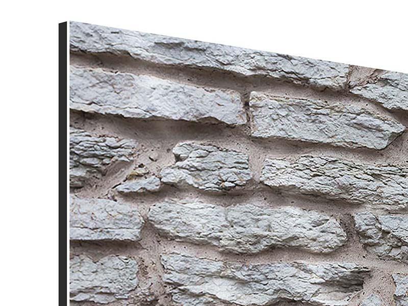 Panorama Aluminiumbild 3-teilig Steinmauer