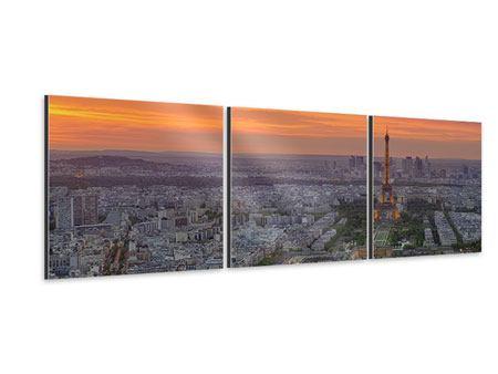 Panorama Aluminiumbild 3-teilig Skyline Paris bei Sonnenuntergang