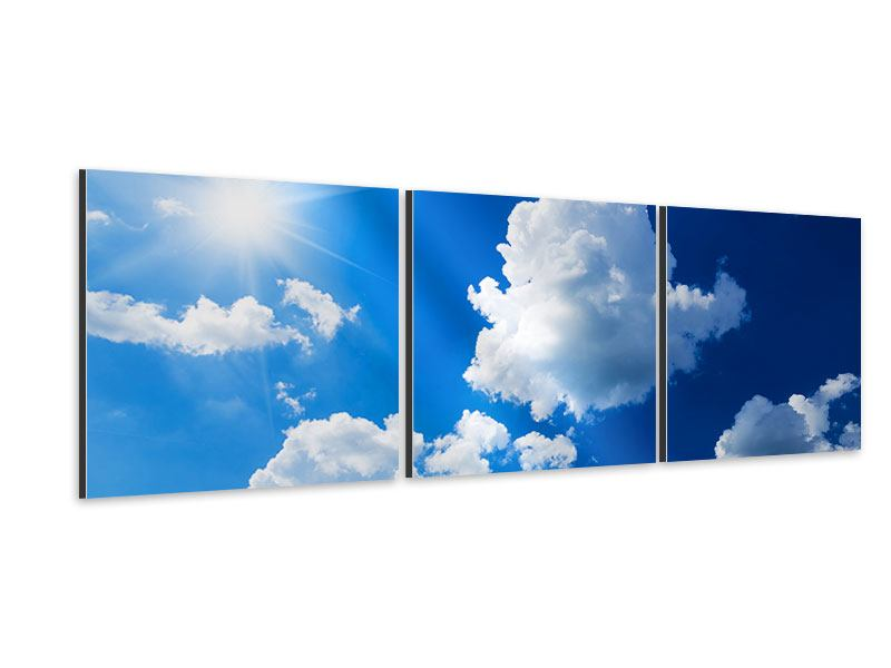 Panorama Aluminiumbild 3-teilig Himmelblau