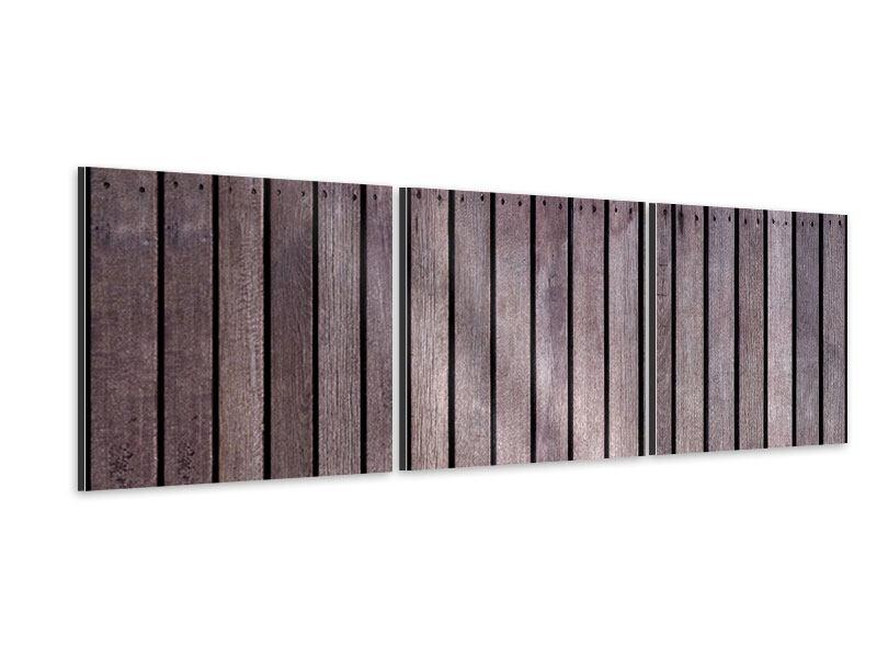 Panorama Aluminiumbild 3-teilig Holzwand