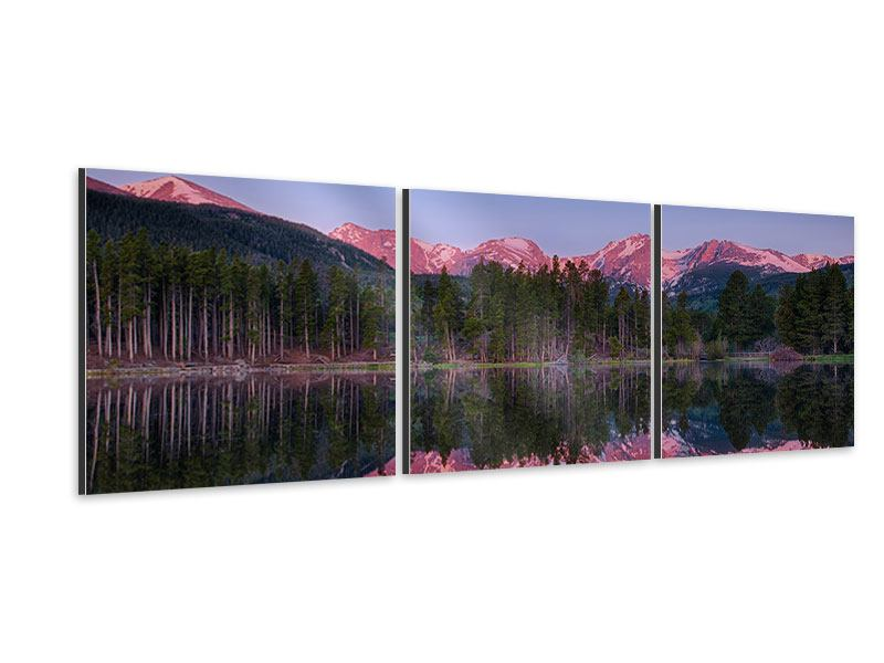 Panorama Aluminiumbild 3-teilig Sprague Lake-Rocky Mountains