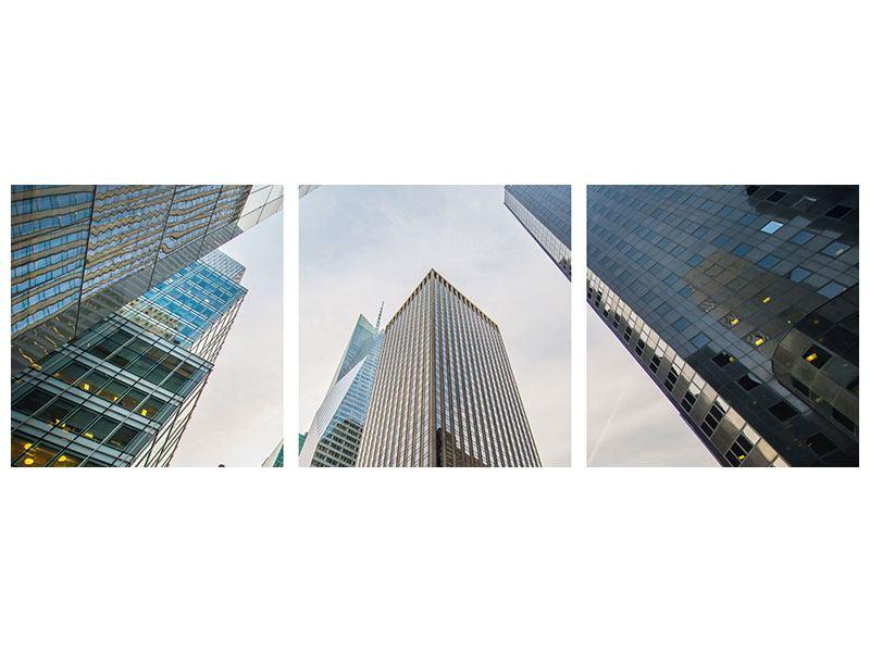 Panorama Aluminiumbild 3-teilig Hochhäuser