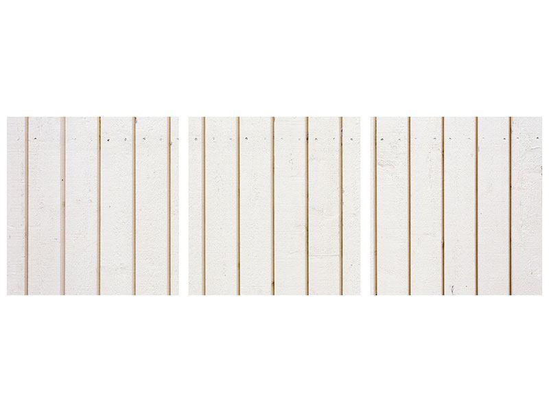 Panorama Aluminiumbild 3-teilig Mediterranes Holz