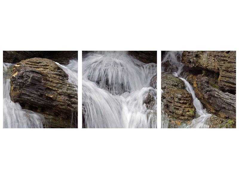 Panorama Aluminiumbild 3-teilig Wasserfall XXL