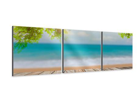 Panorama Aluminiumbild 3-teilig Strandterrasse